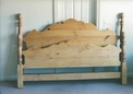 Pine bed headboard and foot board. Foot board was built by Campana Woodworking to match headboard
